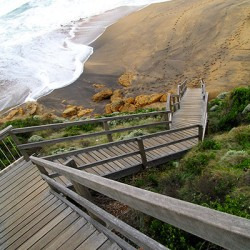 Timber steps leading down to Bells Beach.