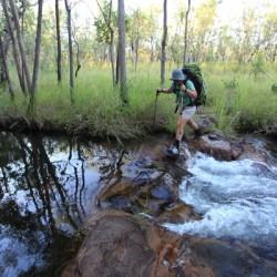 Karen crossing the creek above Bibblecombe Cascades. Jatbula Trail.