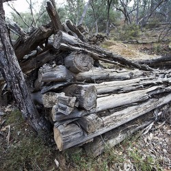 Cypress pine log cabin. Old silver mine relics.