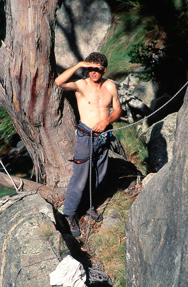 6. Sticht plate. Mt Buffalo, 1996. Professional climbing instructor, playboy and entrepreneur, Simon Mentz is well known for his dedication to climbing safety. Here Simon is trying to figure out if the girl on the lookout is a blonde or a brunette. Damn that sun!