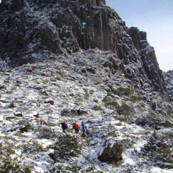 Climbing the Acroppolis in snow. They had to turn back.