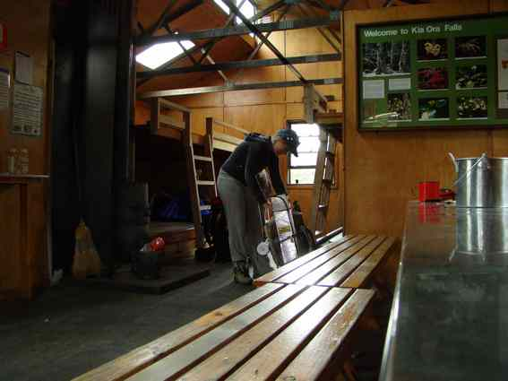Inside Kia Ora hut. Huts can get crowded in Summer