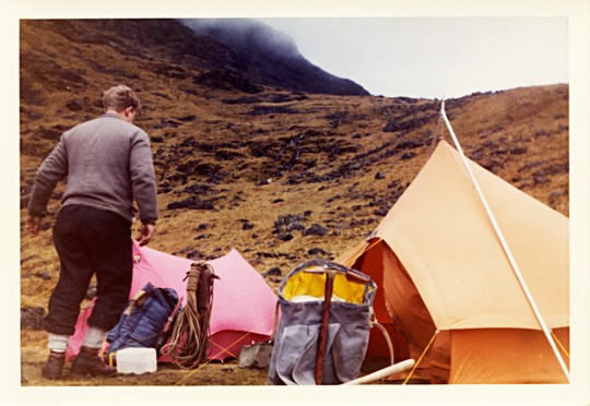 Camp. 1st Feb 64. At Hanging Knott above Angle Tarn.